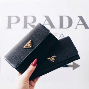 """Prada Wallet """"Portafoglio Pattina Saffiano Metal Nero"""" black"""
