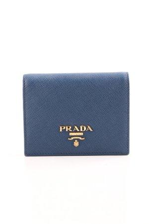 """Prada Geldbörse """"Simple Wallet Flat Saffiano Logo Lettering Bluette"""""""