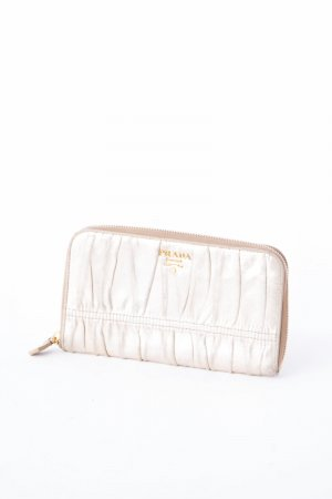 Prada Wallet gold-colored leather