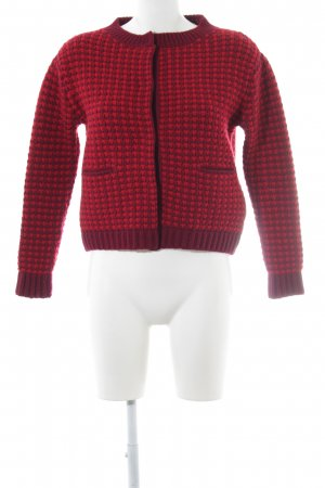 Prada Coarse Knitted Jacket bordeaux-red casual look
