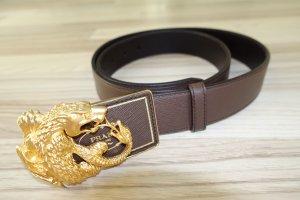 PRADA Gürtel  mit goldenem Drachen !! dunkelbraunes Leder, super spektakulär !!