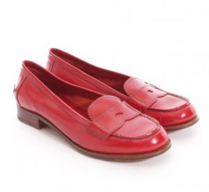 PRADA Halbschuhe Gr. 39 Rot Loafer Flats Ballerinas