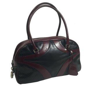 Prada Handtasche Bowlingbag Bordeaux Schwarz Leder Tasche