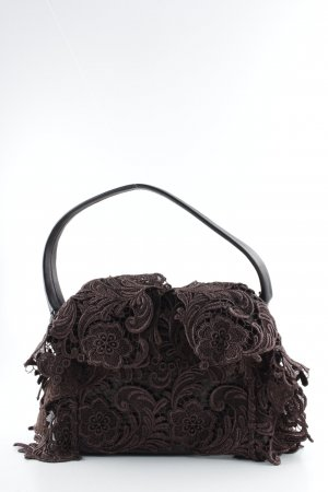 Prada Sac à main brun motif de fleur style extravagant