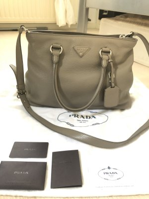 Prada Shoulder Bag silver-colored-grey leather