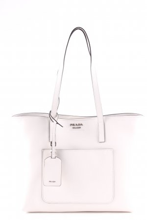 "Prada Borsetta ""Shopping Bag City Calf Bianco/Nero"" bianco"