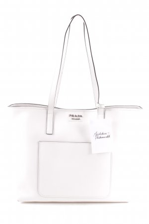 "Prada Sac à main ""Shopping Bag City Calf Bianco/Nero"" blanc"
