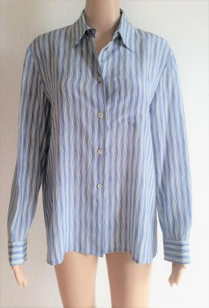 Prada Camisa de manga larga azul celeste-blanco Seda