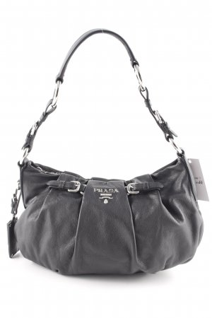 Prada Carry Bag black-silver-colored classic style