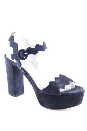 Prada High Heel Sandaletten dunkelblau-silberfarben Casual-Look