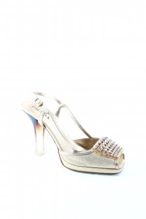 Prada High Heel Sandaletten goldfarben Glitzer-Optik
