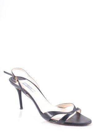 Prada High Heel Sandaletten schwarz-goldfarben Elegant