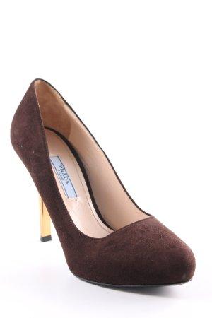 Prada High Heels dunkelbraun-goldfarben Elegant