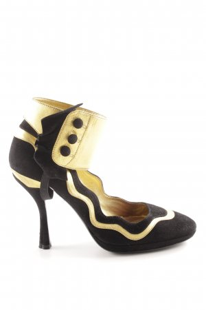 Prada High Heels schwarz-goldfarben Casual-Look