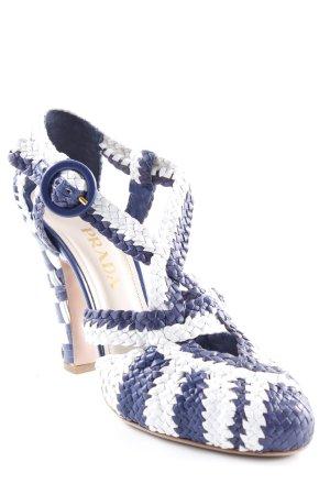 Prada High Heels weiß-dunkelblau Streifenmuster Casual-Look