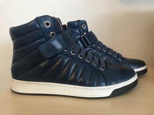 Prada High Sneakers Schuhe Gr. 40 Kalbsleder Blau
