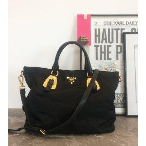 PRADA italy Tote Bag Shopper Handtasche Handbag große Handtasche Schwarz Gold