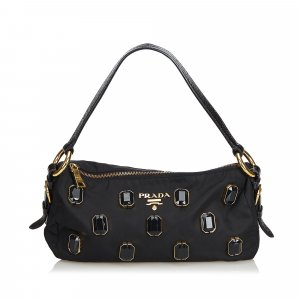 Prada Jewel-Embellished Nylon Baguette