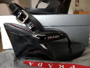 Prada Platform Sandals black leather