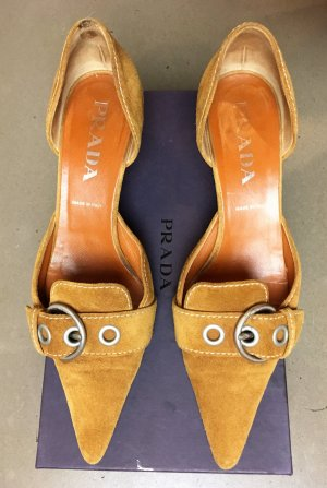 * PRADA * KITTEN HEEL PUMPS WILDLEDER  orange braun mit Karton Gr 38