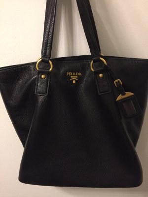 Prada Shoulder Bag black-gold-colored leather