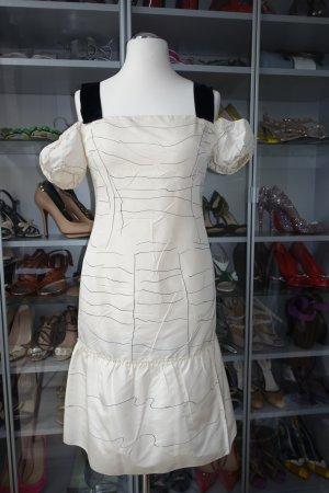 PRADA Kleid, ital. 44 (EUR 40), aus Seide in off-white, mit Samtträgern, hourglass shape mit großer Rüsche unten !! Very cute !!