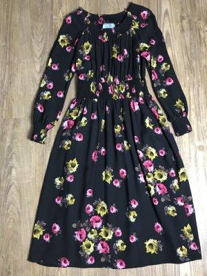 Prada Kleid schwarz mit Blumen Gr. IT44 D40 Seide