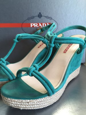 Prada Wedge Sandals green suede
