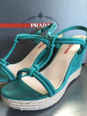 PRADA Knotted Wedge Espadrilles Sandaletten Gr. 7,5 OVP Smeraldo (Smaragd)