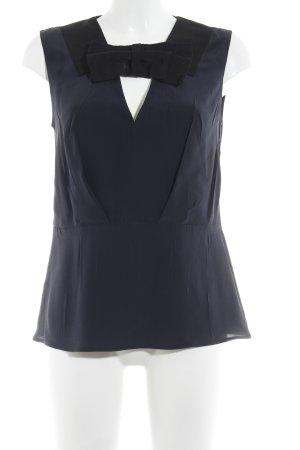 Prada Kurzarm-Bluse dunkelblau-schwarz Schleifen-Detail
