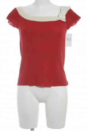 Prada Short Sleeve Sweater red-natural white elegant