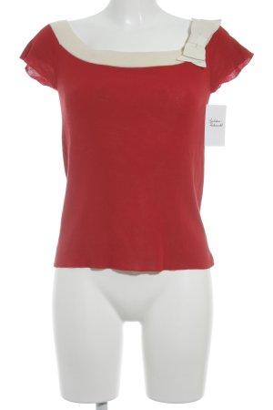 Prada Kurzarmpullover rot-wollweiß Elegant