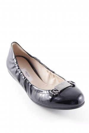 Prada Lackballerinas schwarz Glanz-Optik