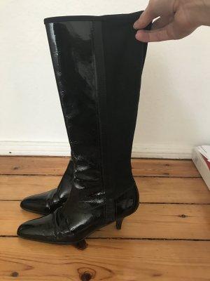 Prada Lackleder Boots mit Reissverschluss und Neopren, Absatz, Stiefel Gr 39