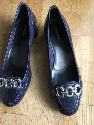 Prada Pumps dark blue-purple leather