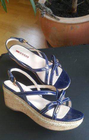 Prada Sandalias de tacón con plataforma azul oscuro