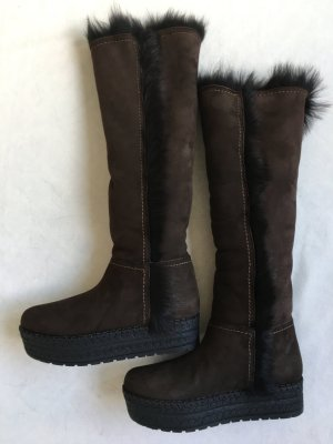 Prada Fur Boots dark brown suede