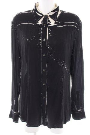 Prada Langarm-Bluse schwarz-creme abstraktes Muster Casual-Look