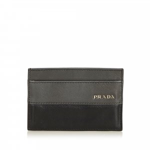 Prada Card Case dark grey leather