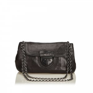 Prada Leather Flap Chain Shoulder Bag