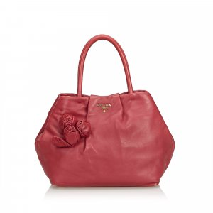 Prada Leather Flower Satchel