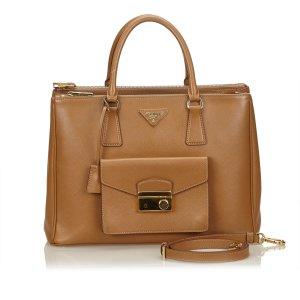Prada Leather Front Pocket Double Zip Handbag
