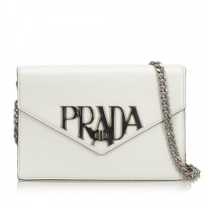 Prada Leather Logo Liberty Crossbody Bag