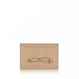 Prada Card Case beige leather