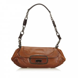 Prada Shoulder Bag dark brown leather