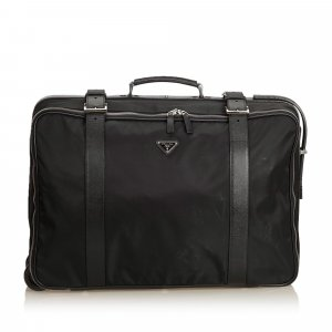 Prada Leather-Trimmed Tessuto Suitcase