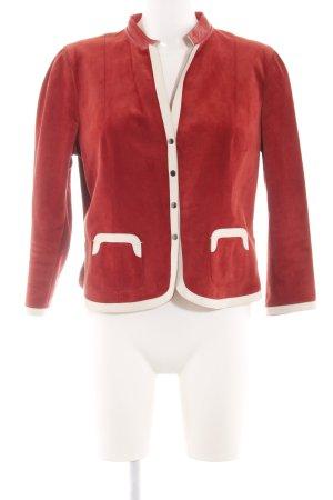 Prada Leder-Blazer rot-wollweiß Casual-Look