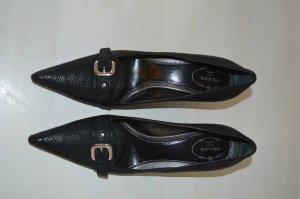 Prada Leder Pumps Schuhe Gr. 40 Schwarz Gemustert