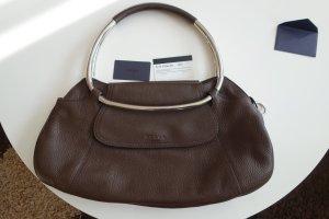 Prada Leder Tasche Metallbügel Vitello Daino Ring Caffe mit Echtheits-Zertificat