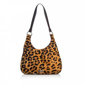 Prada Leopard Print Ponyhair Hobo Bag